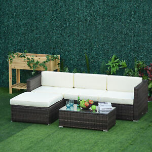 Outsunny 5pcs Sectional Outdoor Furniture Rattan Wicker Sofa Set All Weather