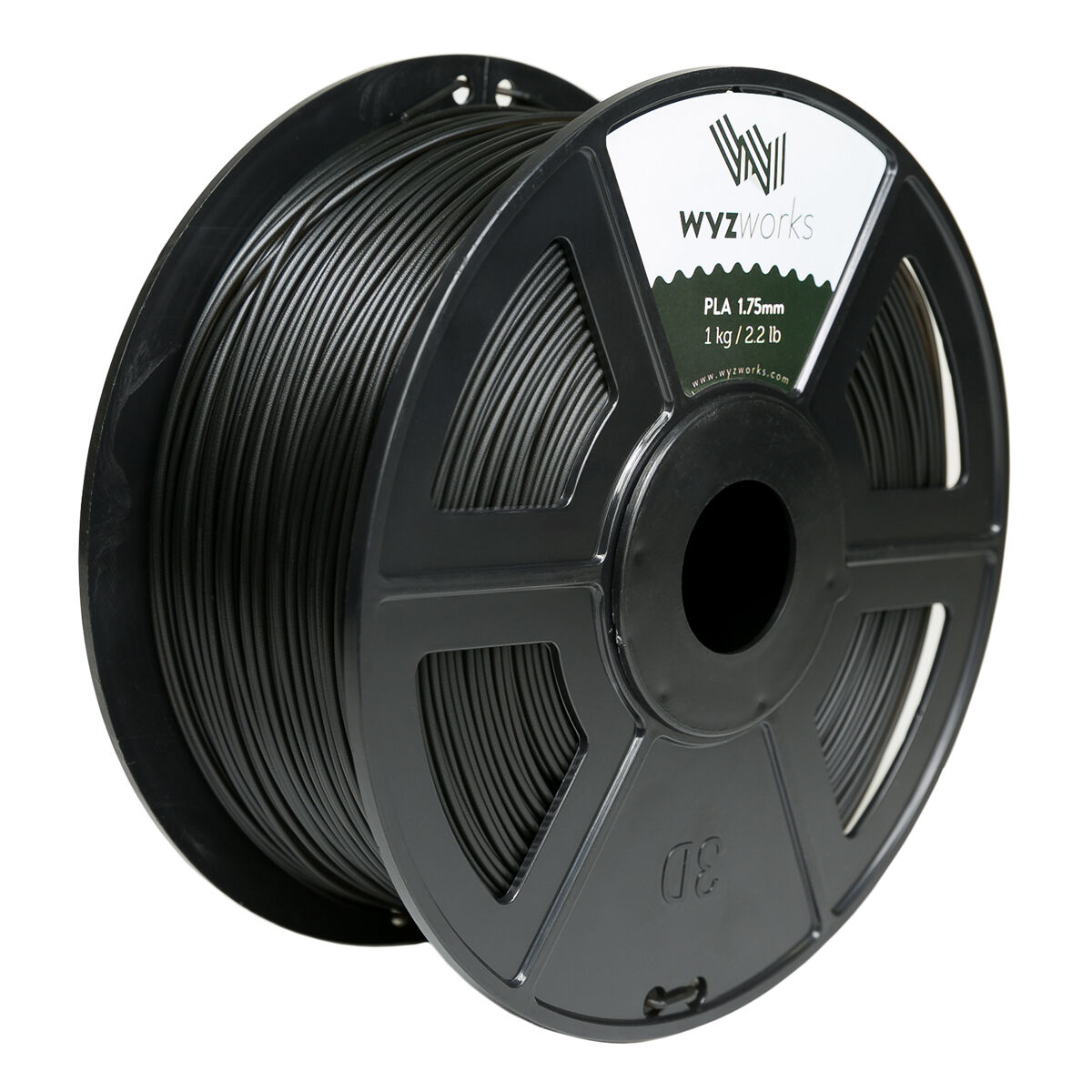 Translucent Black PLA 1.75mm WYZworks 3D Printer Premium Filament 1kg/2.2lb