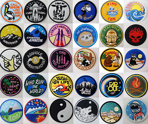Sew-Iron-On-Round-Patches-Popular-Badge-Transfer-Embroidered-Funny-Biker-Slogan