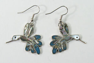 Image Is Loading Alpaca Silver Hummingbird Earrings With S Inlay And