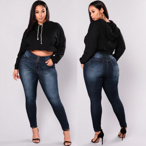 Plus Size Women/'s Pencil Denim Skinny Slim Jeans Pants Jeans Trousers L-5XL L7F8
