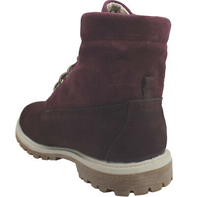 Timberland Authentisch Roll Top Damen Leder Weinrot Schnürer