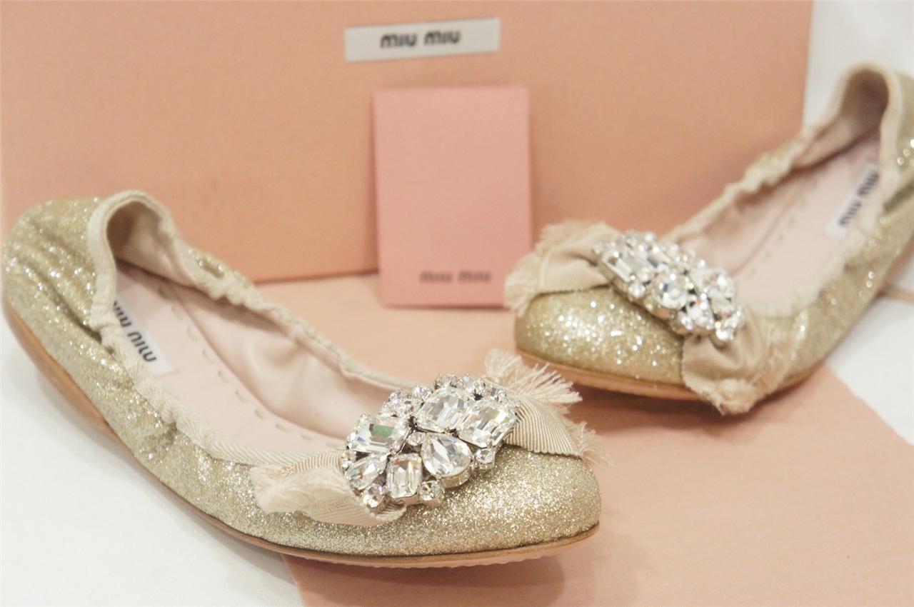 prendi l'ultimo MIU MIU POWDER oro GLITTERED JEWEL JEWEL JEWEL EMBELLISHED BALLERINA FLATS scarpe 34.5  660  ordinare on-line