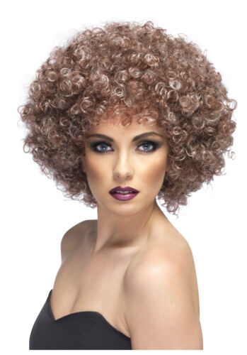 Womens 70/'s Natural Afro Wig Curly Brown Pop Star Disco Fancy Dress Tina Fever