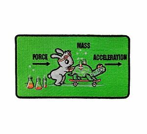 Using Force Funny Bunny Rabbit & Turtle Physics Iron on Embroidered Patch On Hat