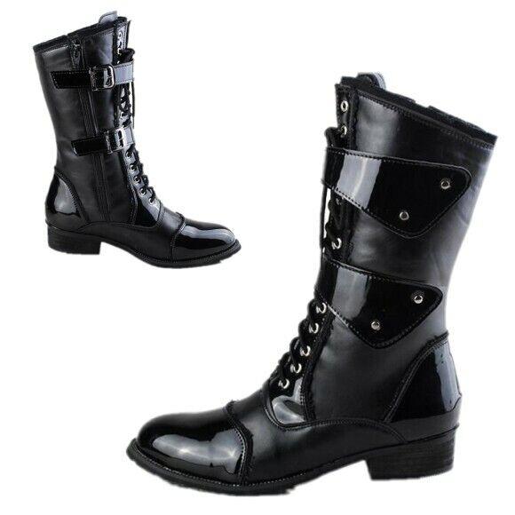 Negro Talla EE. UU. Zapatos para hombre Tacones Gruesos Hebilla Equitación Mitad de Pantorrilla Bota De Cowboy Con Cordones