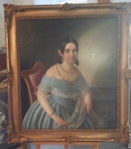 Portrait-einer-Dame-Ol-auf-Platte-um-1850