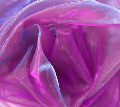 Axx (Per Meter) 2 Tones Crystal Mirror Organza Sheer Polyester Fabric Material