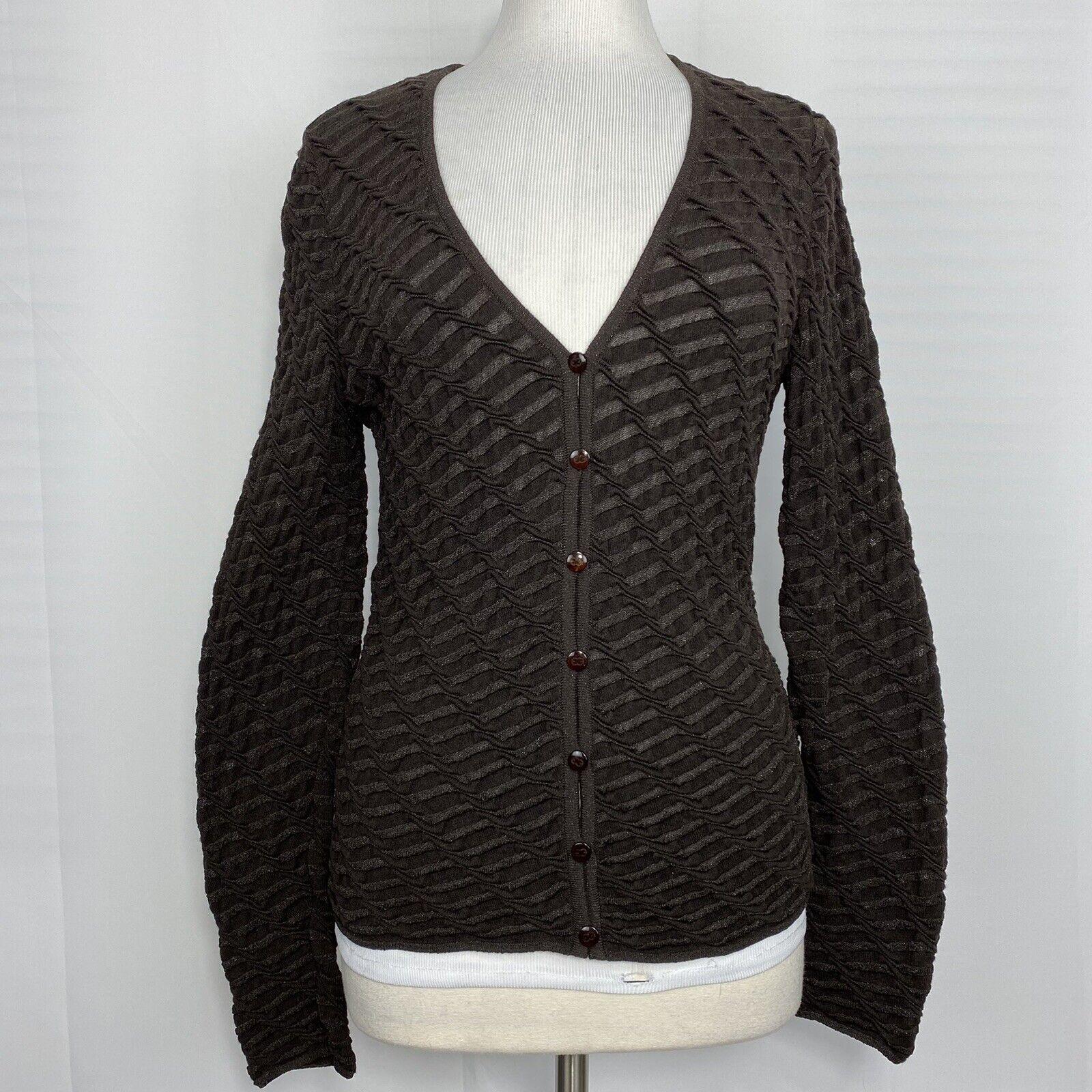 Vtg Escada 36 S/M Cardigan Sweater Wool Silk Cashmere Brown Sheen Germany #SS