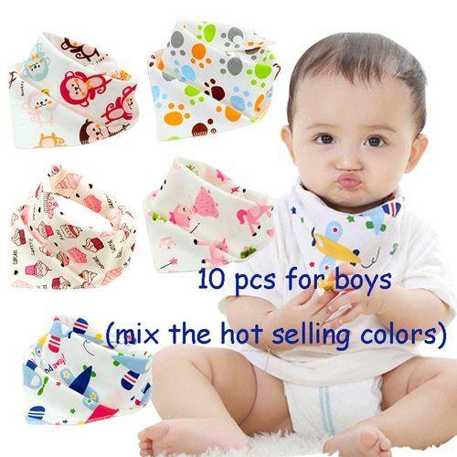 10pieces//lot Cotton new Baby babador bandana bibs for babies Scarf boys Girls