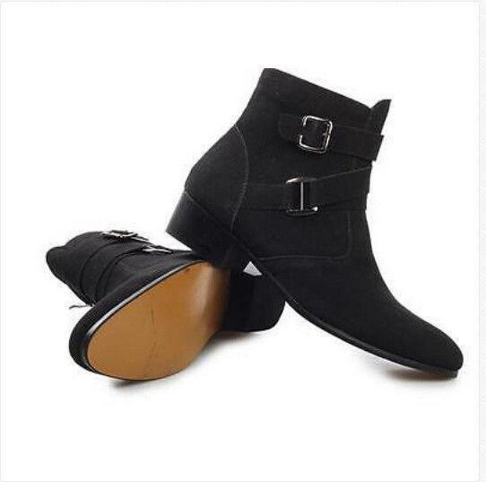 Hot Mens Fur Lined Suede Zipper Punk Gothic Winter Ankle Boots shoes Pointed Toe