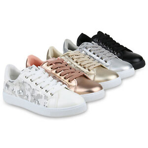 Details zu Damen Sneaker Low Pailletten Turnschuhe Leder Optik Schuhe Spitze 821154 Schuhe