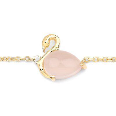 Fine Jewelry 100% True Fußkette Glücksbringer-rosa Schwan-rosenquarz 1,90 Karat-silber/gold