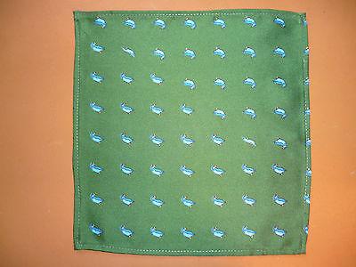 Silk mens handkerchief  Bottle green with blue puffins   NEW