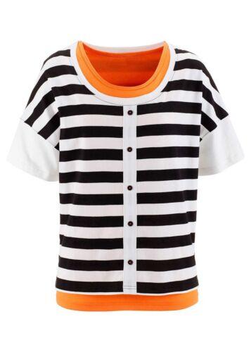 Bluse Tunika Top Streifen schwarz weiss orange 970574 . BPC Shirt Longtop 2-tlg
