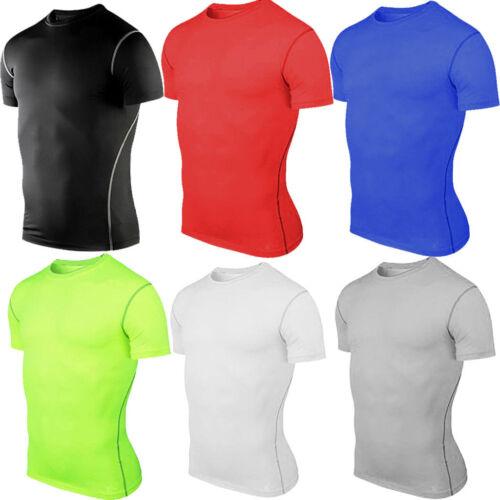 Herren Sport Kompression Funktionsshirt Gym Fitness Baselayer Shirts Top T-Shirt