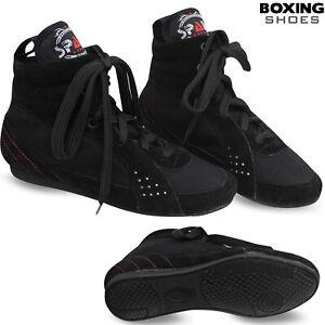 Cuir Boxe Bottes Chaussures cheville boot poids léger footwears Homme Noir