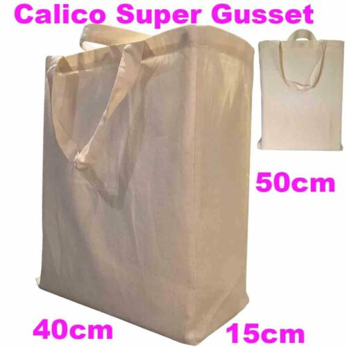 Large Calico Gusset Bag Calico Bags Shopping Bag Calico Bag Gusset 15cm H50W45