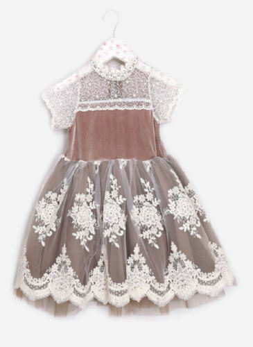 Mae Li Rose Mauve  Mocha /& Ivory Lace Girls Dress NEW 2T 3T 4T 4//5