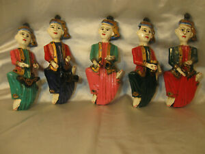 SET-OF-5-THAILAND-HAND-CARVED-AND-HAND-PAINTED-WOOD-MUSICAL-FIGURINES