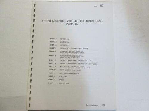 Porsche 944 S Turbo Model 87 Wiring Diagrams Manual  FACTORY OEM Book Loose Leaf