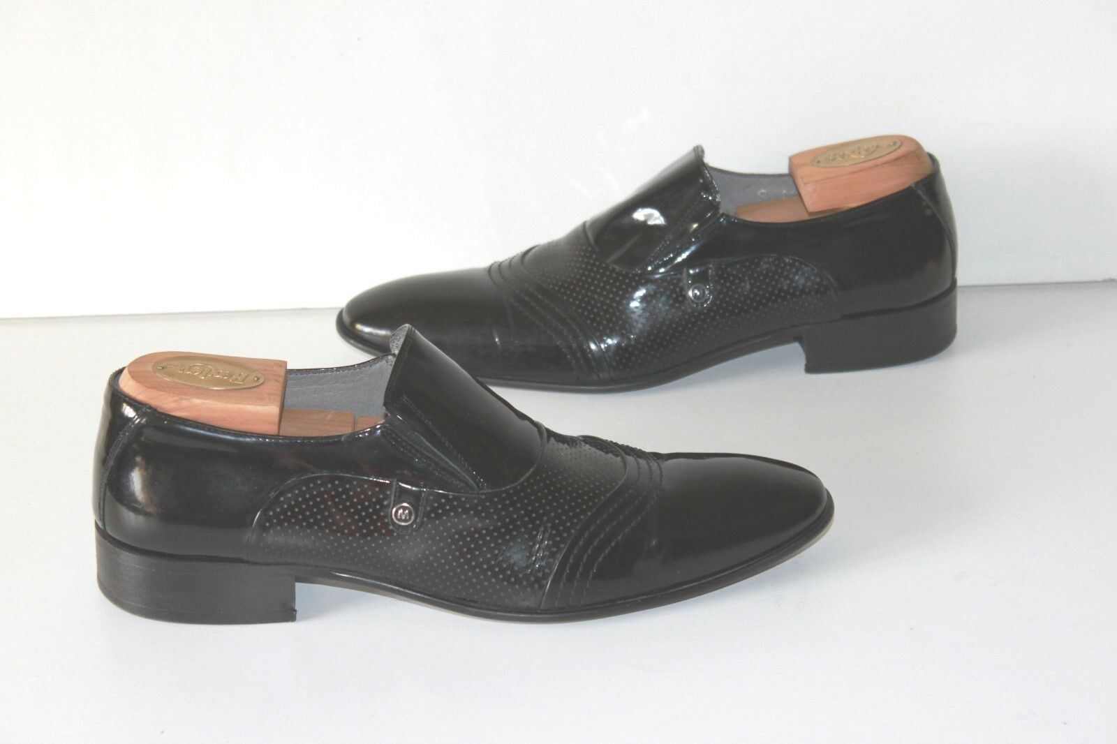 MARCOMEN Mocassin Black Patent Shoe Leather With Shoe Patent trees T 42 VERY GOOD CONDITION c665e9