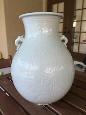 Antique Japanese Carved Green Celadon Porcelain Baluster Vase Deer Turtle Cranes