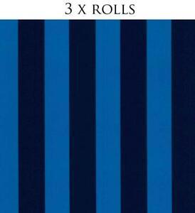 3x Blue Striped Wallpaper Children Kids Girls Boys Room Washable P+S Die Maus