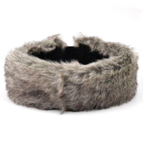 Kunst Pelzig Stirnband Hawkins Damen Winter-Skimütze Ohr Leopard Grau