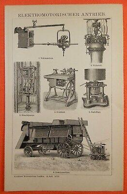 100% QualitäT Elektomotorischer Antrieb Elektromotor Holzstich V. 1897 Drehbank Dreschmaschine