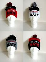 Haters Gonna Hate Pom Two Tone Cuffed Beanie Knit Hat Skull Cap