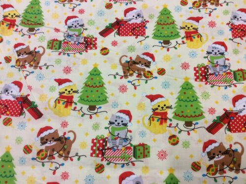 Fat Quarter Kitty Cat Christmas Holiday Allover Sewing Cotton Quilting Fabric