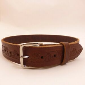 1-5-x-31-32-034-AMISH-HANDMADE-EMBOSSED-BROWN-LEATHER-BELT-Horse-Western-Cowboy-CCW