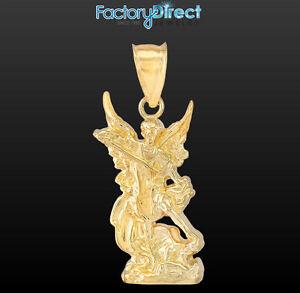 Polished 10k 14k gold st michael pendant archangel ebay image is loading polished 10k 14k gold st michael pendant archangel mozeypictures Image collections