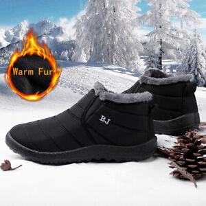 Para-Hombre-Botas-Al-Tobillo-De-Invierno-Calido-Impermeable-Nieve-al-aire-libre-de-piel-forrada