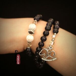 Bracelet-Elastic-Long-Charms-Horse-Pearl-Stoneware-Blue-Dark-Marine-Pearl