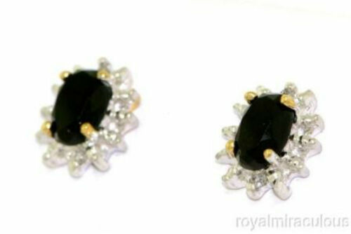 October Birthstone Onyx /& Diamond Earrings Sterling Silver or Gold Plated