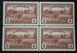 Canada #268, VF, MNH OG Block Of 4, 1946 Peace Series