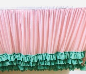 Caden Lane Dust Ruffle Crib Skirt Pink Amp Teal Green Tulle
