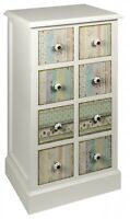 Shabby Chic Vintage Style Floral Patterned Style 8 Drawer Chest Of Drawers