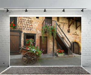Image is loading Brick-Wall-House-Backdrop-Wood-Stages-Photo-Prop- & Brick Wall House Backdrop Wood Stages Photo Prop Door Studio ...