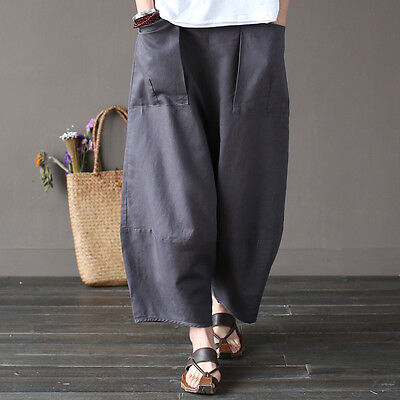 Womens Loose Fitting Folk Style Cotton Harem Pants With Pockets  Womans Casual Pants  Loose Pants  Baggy Pants  Harem Pants For Women