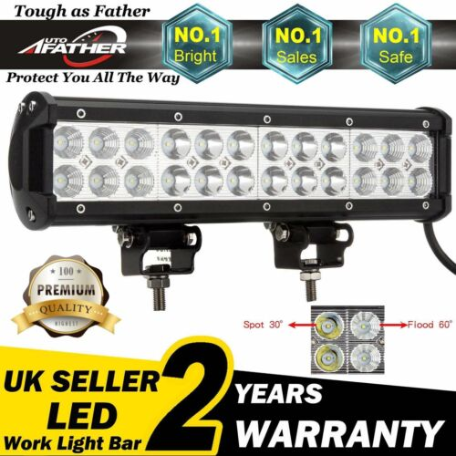 12INCH 72W FLOOD LED WORK LIGHT BAR OFFROAD ATV FOG TRUCK 4WD 12V 24V BRIGHT