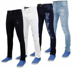 Da-Uomo-g-72-Chiusura-Zip-Stretch-Skinny-Slim-Fit-Strappato-Jeans-Denim-Pantaloni-Cotone