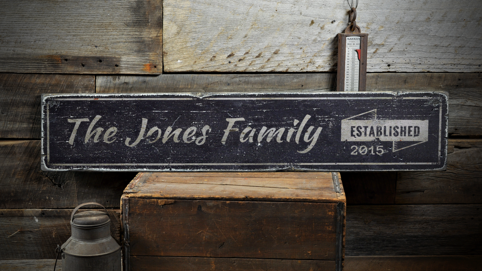 Wedding Decor, Established Date - Rustic Distressed Wood Sign ENS1001303
