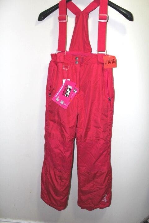 NEW Weatherproof Girl's Large 14 16 Ski Snow Pants Bib Zip Off Suspender PINK