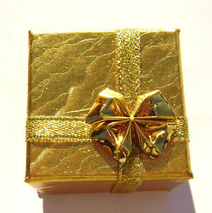 2199PK   Gift Box Ring, Studs, Paper, Gold with Ribbon & Bow, 1 Qty