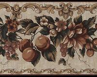 Rustic Floral Fruit Vintage Tattered Beautiful Tan Orange Wallpaper Wall Border