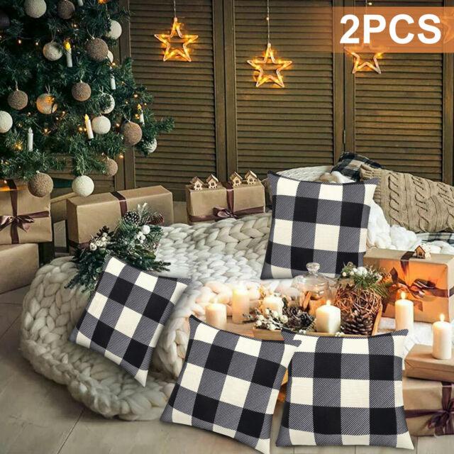 2x Sofa Pillow Cushion Covers Home Black /& Red Plaid Checkered Design Decor US