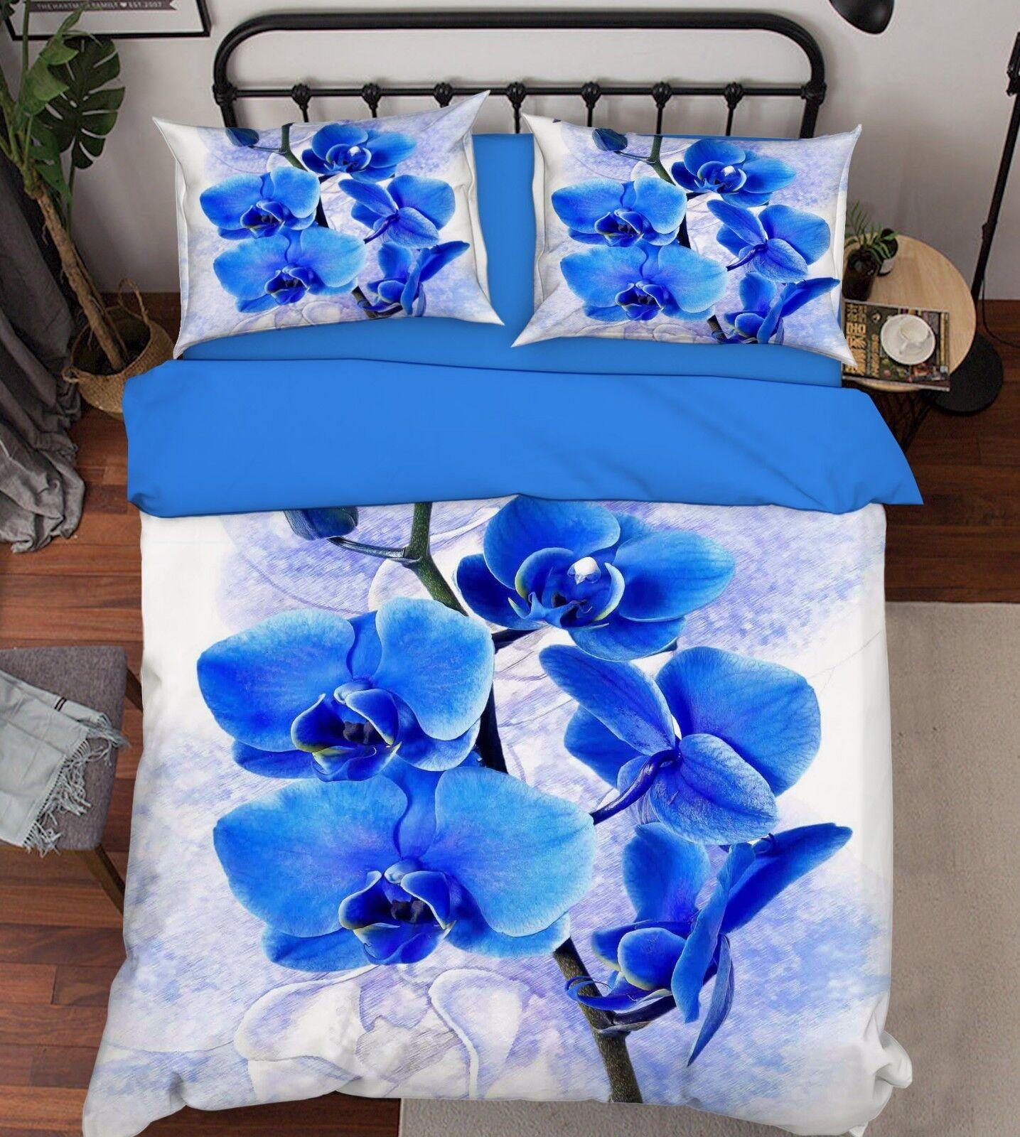 3d Blau Floral 363 bett Cushion abdeckungs Stitch Duvet abdeckung Set Single Queen DE